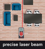 The Skil 0530 features a precise laser beam for measuring indoors and out