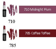 Lipcolour for dark skin tones: 710 Midnight Plum, 780 Penny Candy, 785 Coffee Toffee, 853 Chili