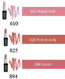 Lipcolour for fair skin tones: 231 Sugared Pearl, 510 English Rose, 610 Angel Pink, 696 Moccha Latte, 804 Hint of red, 825 Pink Brandy, 833 Rosewood, 859 Cinder, 894 Raisin