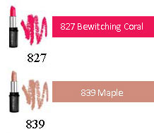 Lipcolour for medium skin tones: 725 marsh mellow, 827 bewitching coral, 830 Dusky Rose, 837 Sunbronze, 839 Maple