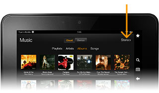 Amazon music store on Kindle Fire HD