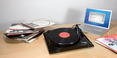 ION Profile LP works with Mac and PC for easy transfer of vinyl records to MP3