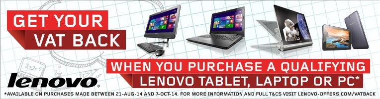 VAT Back on selected Lenovo Tablets, Laptops, & PCs