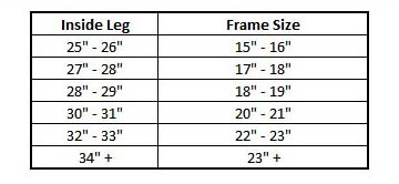 Bike Frame Size Chart Adult Mountain Bike Sizing