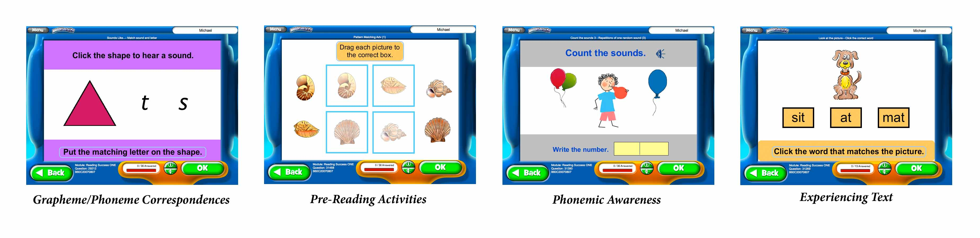 Screenshots of BRAINtastic Reading Success ONE