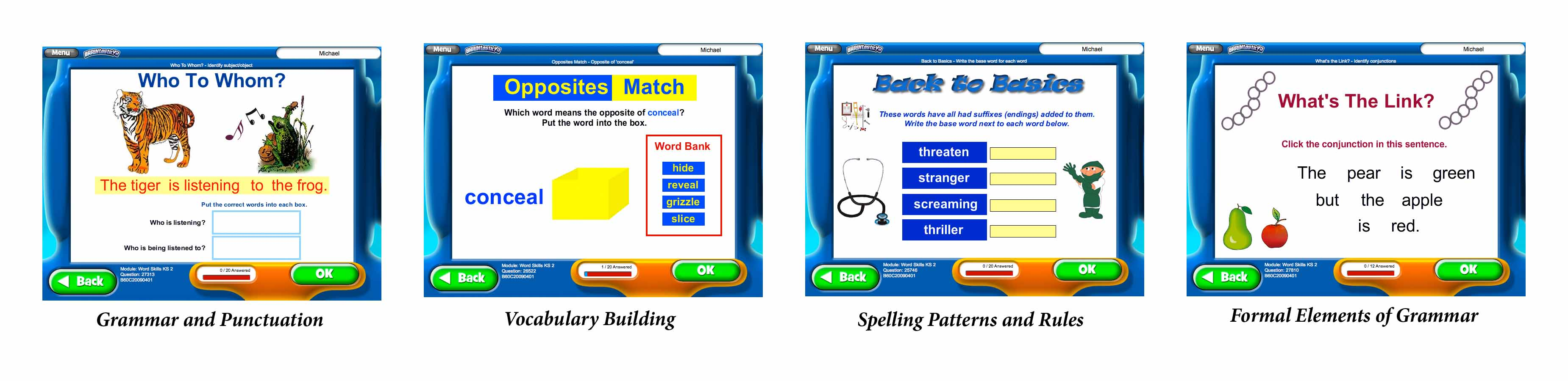 Screenshots of BRAINtastic Word Skills TWO