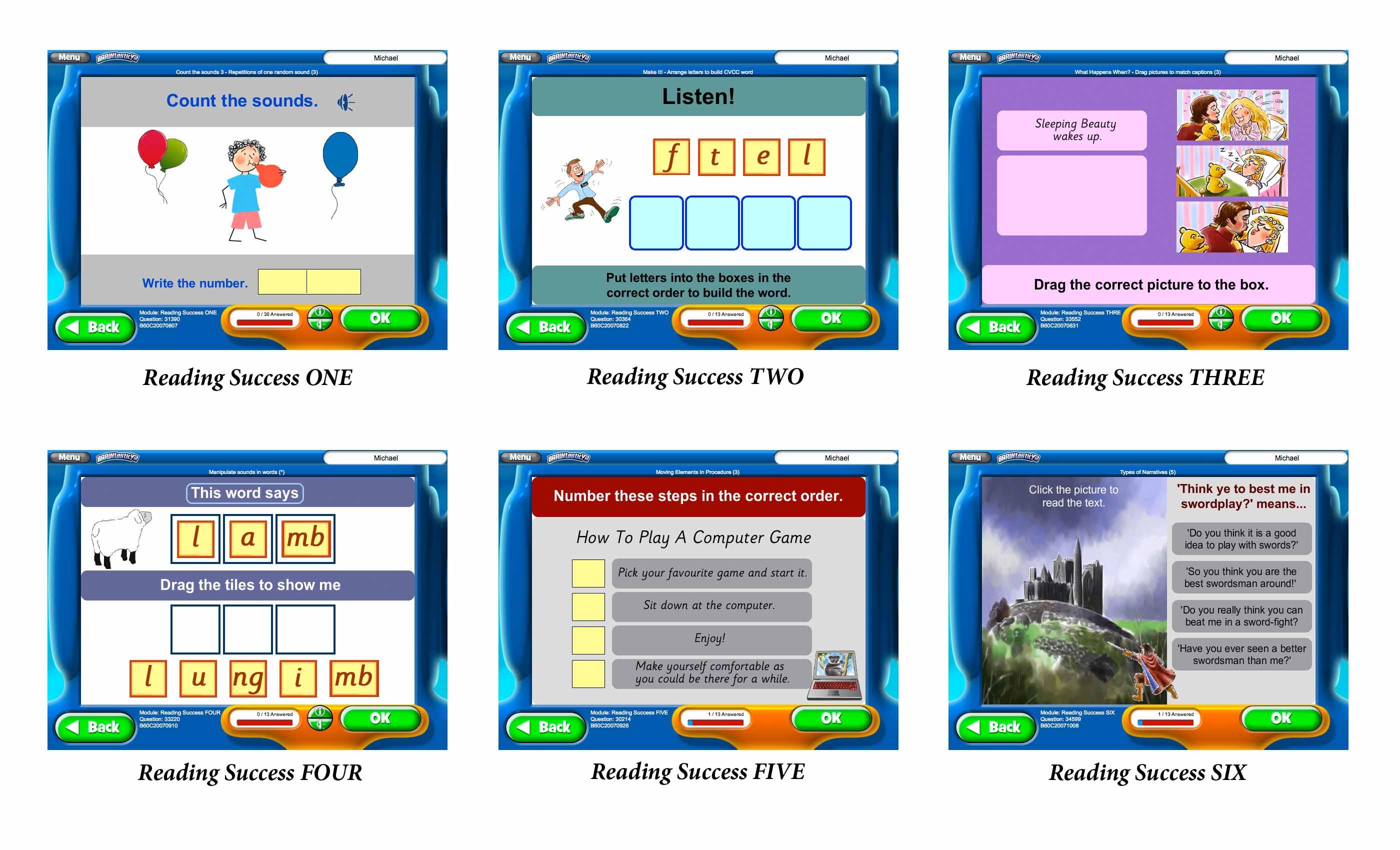 Screenshots of BRAINtastic Reading Success Value Bundle