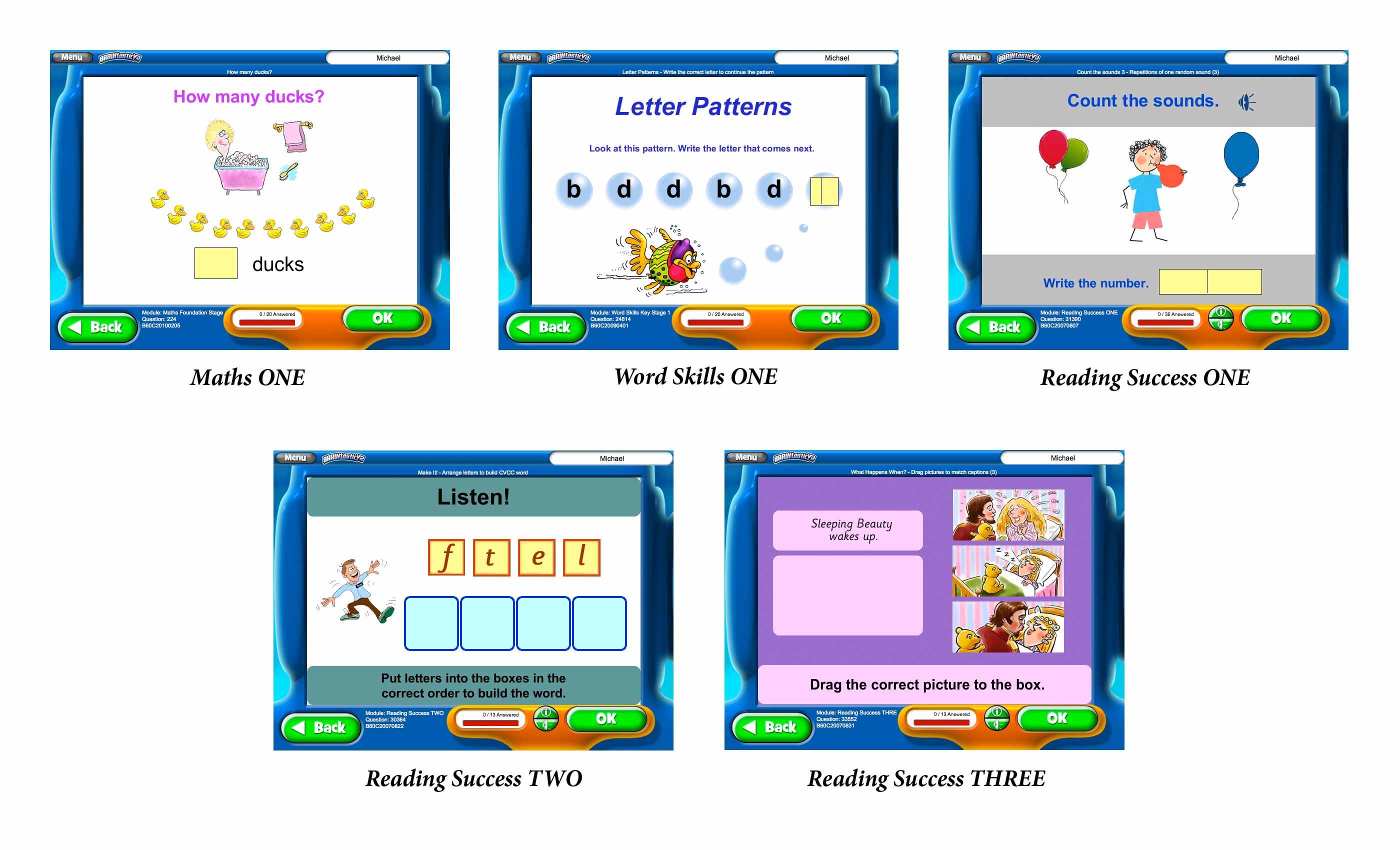 Screenshots of BRAINtastic v2 Key Stage 1 Value Bundle