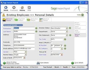 Sage instant payroll help