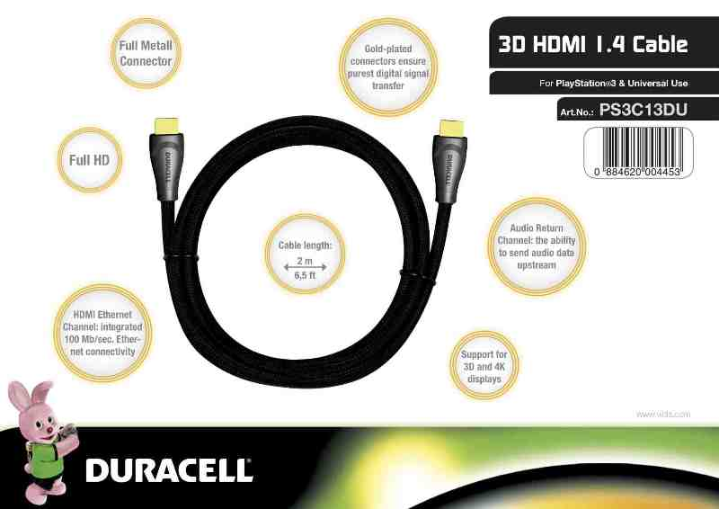 Duracell 3D HDMI 1.4 Cable, Black (Full Metal)