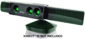The Nyko Zoom clips on atop the Kinect Sensor