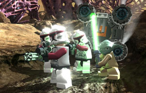 Yoda and the clone army in LEGO Star Wars III: The Clone Wars