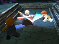 Co-op action against a Sith Lord in LEGO Star Wars III: The Clone Wars for Wii