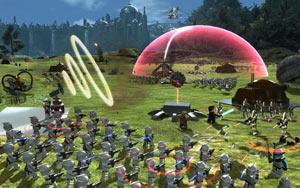 Anakin Skywalker using Force powers against the droid army in Lego Star Wars III: The Clone Wars