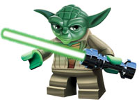 Close-up of the LEGO version of Yoda with his lightsaber from LEGO Star Wars III: The Clone Wars