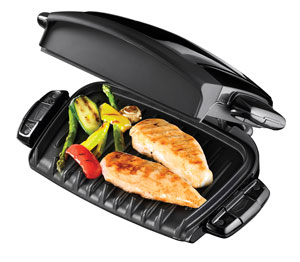 George foreman 14066 compact 3 portion health grill removable plates in black ebay - Health grill with removable plates ...