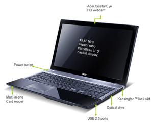 The 16:9 HD display and Dolby sound system ensure your Acer V3 notebook provides high entertainment value.