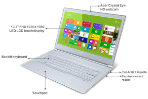 The Aspire S7 is an ultrabook with touchscreen, HD webcam, and backlit keyboard.