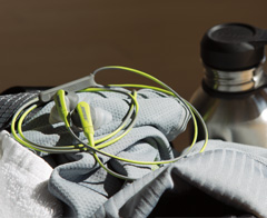 Headphones are a secure fit, and sweat and weather resistant
