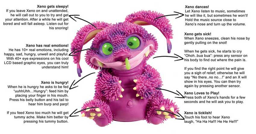 Xeno Ultra Violet Solid Soft Interactive Electronic Cuddly