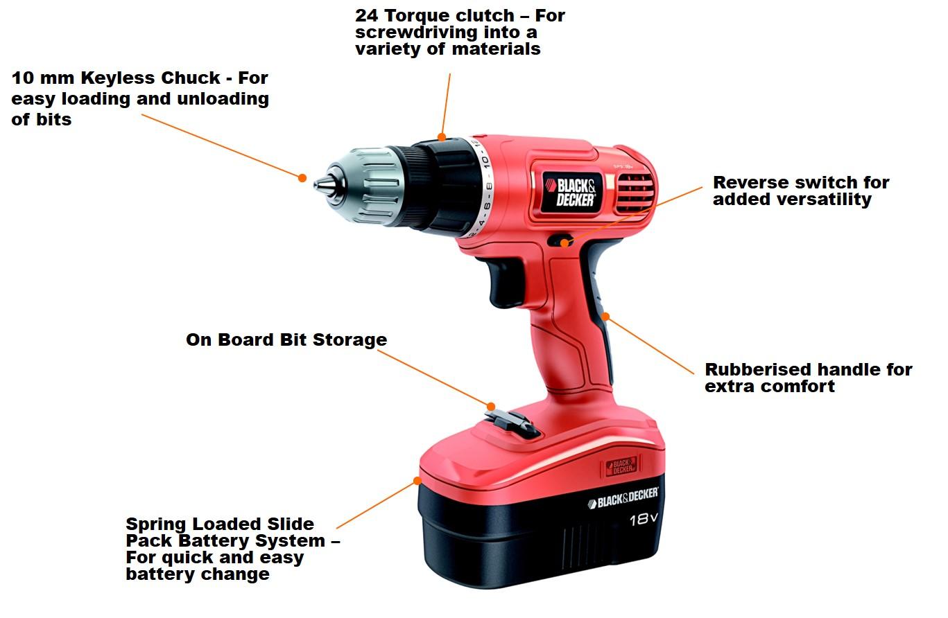 black decker epc18ca 18v nicd cordless drill driver diy tools. Black Bedroom Furniture Sets. Home Design Ideas