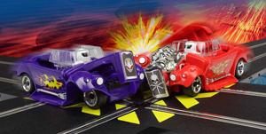 Two Demolition Derby cars crashing