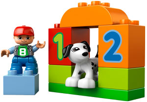 DUPLO minifigure and dog