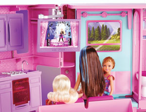 Barbie and sisters in the bedroom