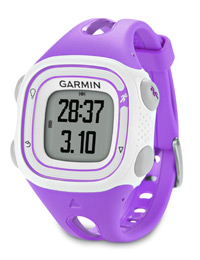 Garmin Forerunner 10 violet: See your time and distance <