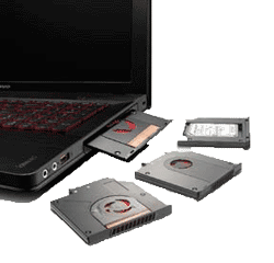 UltraBay is an interchangeable bay that can instantly be swapped between multiple optional upgrades