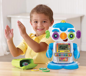 Boy playing with Gadget the Robot