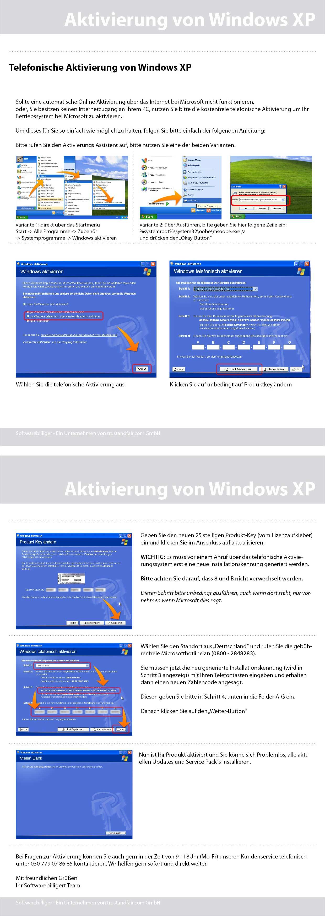 Windows XP kann nicht aktiviert werden. Wenn die Internetaktivierung nicht ...