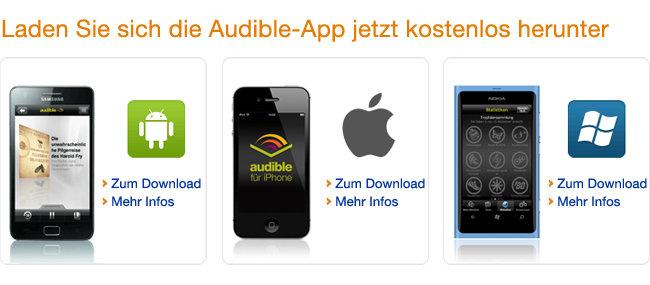 Die Audible Shopping-App für Ihr Gerät