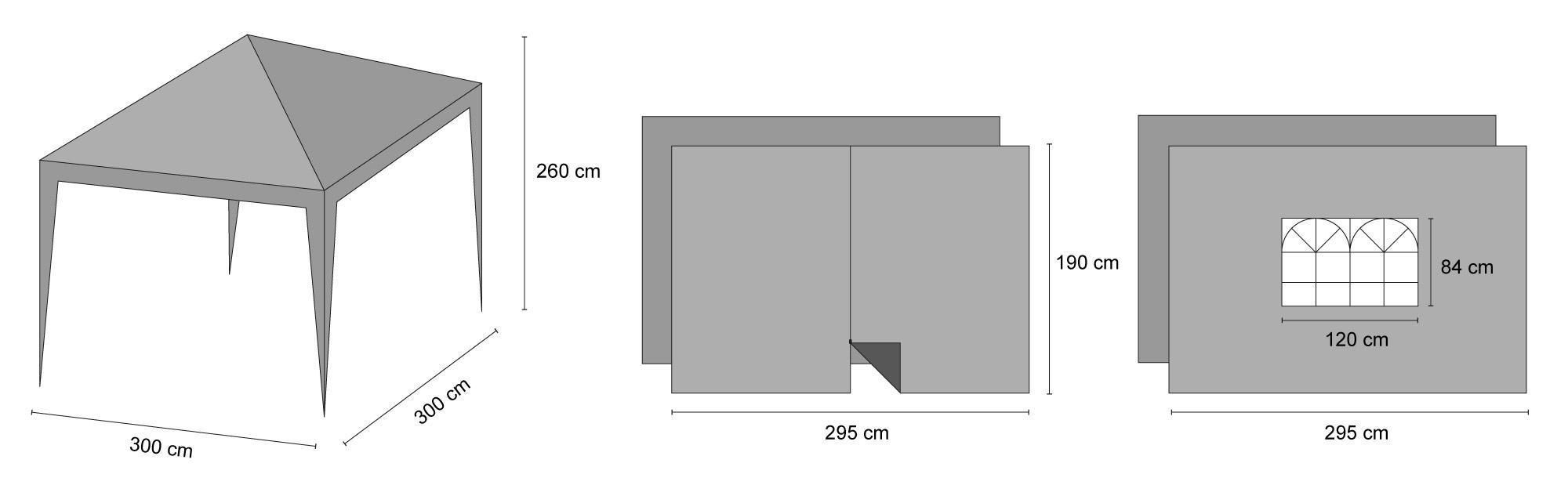 faltpavillon gartenpavillon pavillon f r garten 3x3m. Black Bedroom Furniture Sets. Home Design Ideas
