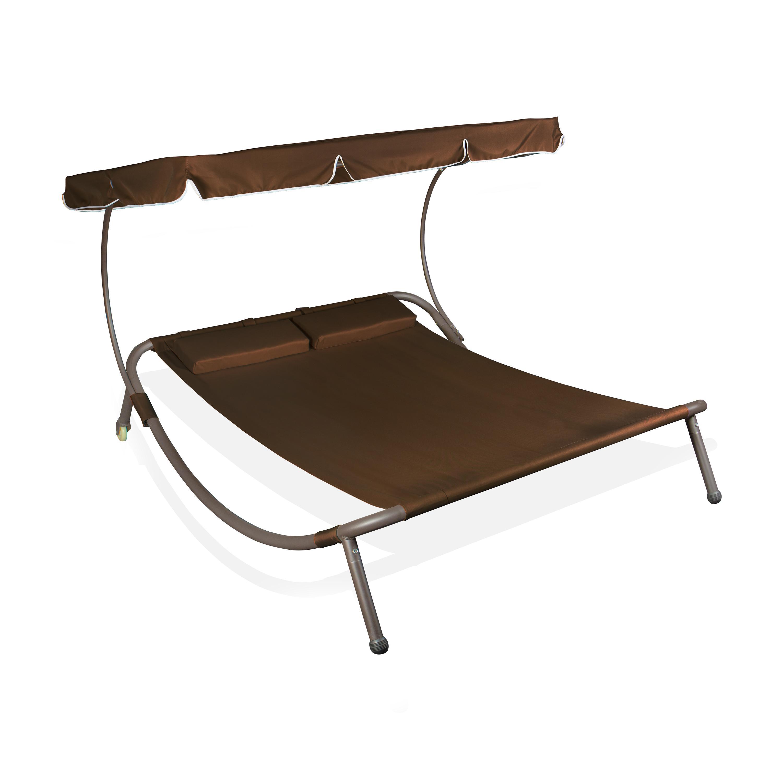 vanage doppel sonnenliege mit sonnendach maria braun. Black Bedroom Furniture Sets. Home Design Ideas