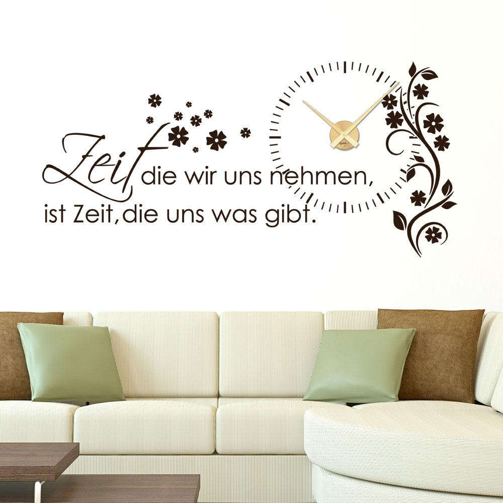 wandtattoo uhr mit uhrwerk wanduhr f r wohnzimmer spruch zeit die wir uns nehmen uhrwerk. Black Bedroom Furniture Sets. Home Design Ideas