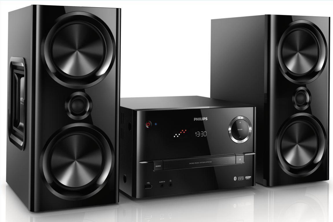 philips btm3160 12 mikro stereoanlage mit bluetooth 150 watt rms schwarz heimkino. Black Bedroom Furniture Sets. Home Design Ideas