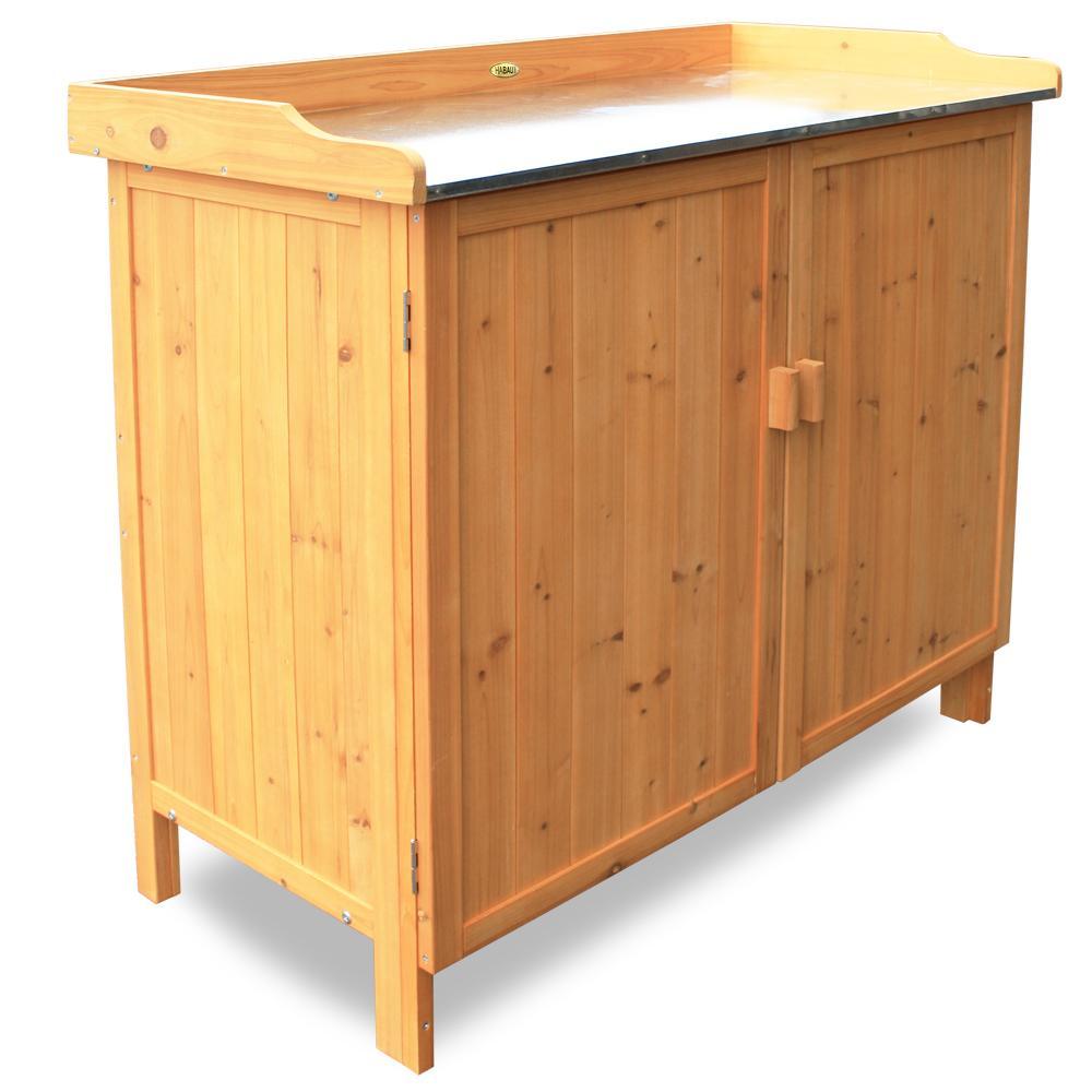 grilltisch blumentisch gartentisch pflanztisch lagerschrank gartenschrank holz ebay. Black Bedroom Furniture Sets. Home Design Ideas