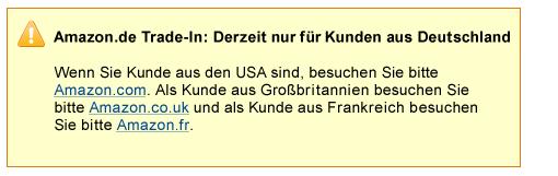 Amazon.de Trade-In: derzeit nur f�r Deutschland