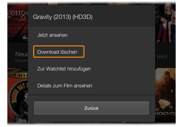 Picture of how to select Delete Download