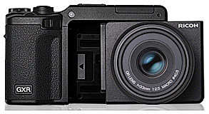 Ricoh GXR Systemkamera mit Wechselmodul.