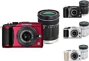 Olympus E-PL2 Systemkamera rot mit 14-42 mm & 40-150 mm Objektiven schwarz