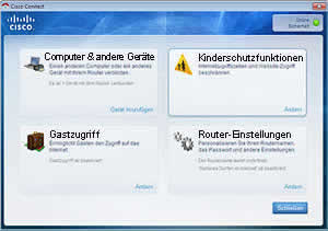 Screenshot der Cisco Connect Software
