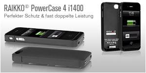 RAIKKO PowerCase 4 i1400 Schutz & Zusatzakku für iPhone 4