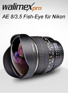 Walimex Pro AE 8/3,5 Fish-Eye für Nikon