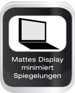 Mattes Display minimiert Spiegelungen
