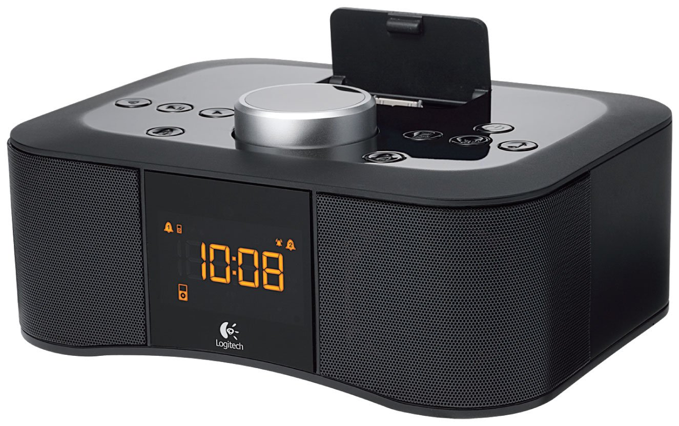 logitech clock radio dock s400i lautsprecher f r apple iphone ipod schwarz heimkino. Black Bedroom Furniture Sets. Home Design Ideas