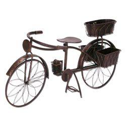 my garden fahrrad blumenst nder metall 3 pflanzt pfe farbe braun gr e ca 118 x 37 x 58. Black Bedroom Furniture Sets. Home Design Ideas