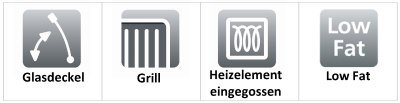 Glasdeckel - Grill - Heizelement eingegossen - Low Fat