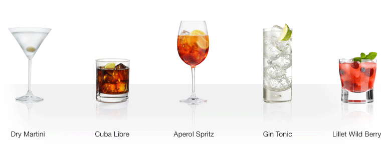 Martini, Aperol, Gin, Lillet, Whisky
